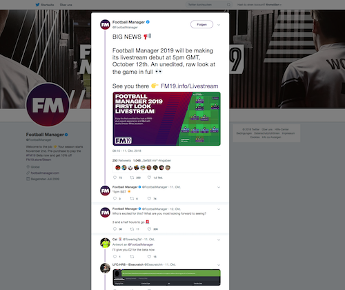 Twitter News zum Start von Football Manager 2019
